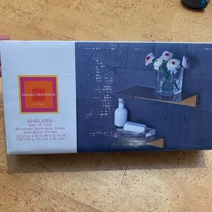 NEW 2 Brushed Stainless Steel / Birch Shelves NWT